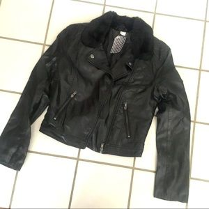 Leather moto jacket with fur collar